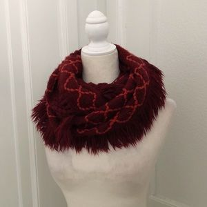 Merona Burgundy & Orange Knit Infinity Scarf